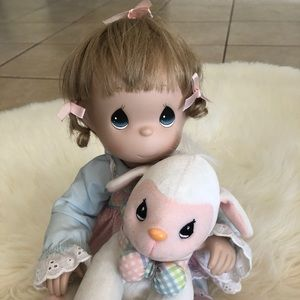 Precious Moments porcelain doll with a lamb